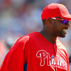 February 27, 2011; Clearwater, FL, USA; Philadelphia Phillies first baseman Ryan Howard (6) during a spring training exhibition game against the New York Yankees at  Bright House Networks Field. Mandatory Credit: Derick E. Hingle
