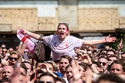 © Licensed to London News Pictures. 07/07/2018. London, UK. England fans react during the England v Sweden World Cup Quarter Final match as it is shown on the big screen at Flat Iron Square in London. Photo credit: Rob Pinney/LNP