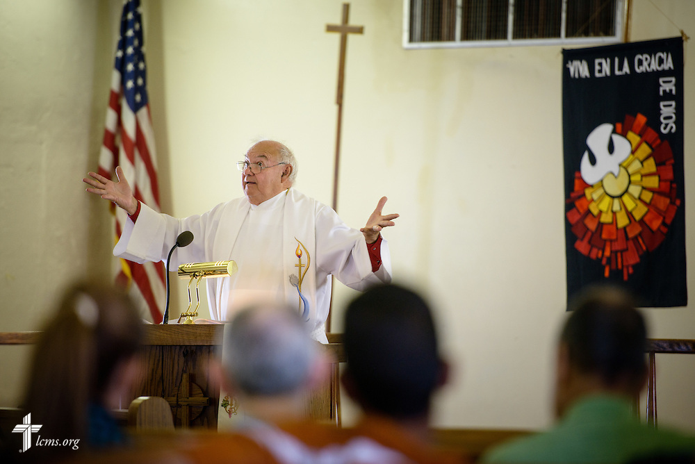 The Rev. Karl Heimer, pastor of San Pablo Lutheran Church and president of Ysleta Lutheran Mission Human Care, preaches during worship at the church on Sunday, May 22, 2016, on the YLM campus in El Paso, Texas. LCMS Communications/Erik M. Lunsford