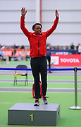Keturah Orji receives hermedal after winning the triple jump during the USA Indoor Track and Field Championships in Staten Island, NY, Sunday, Feb 24, 2019. (Rich Graessle/Image of Sport)