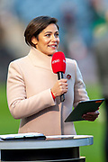 BT Sport presenter Eilidh Barbour before the Betfred League Cup semi-final match between Heart of Midlothian FC and Celtic FC at the BT Murrayfield Stadium, Edinburgh, Scotland on 28 October 2018.