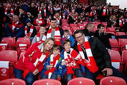 Bristol City fans pose in their scarves before the match - Photo mandatory by-line: Rogan Thomson/JMP - 07966 386802 - 25/01/2015 - SPORT - FOOTBALL - Bristol, England - Ashton Gate Stadium - Bristol City v West Ham United - FA Cup Fourth Round Proper.