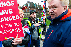 Pro-Brexit campaigner James Goddard, centre, once again visits and attempts to disrupt Steve Bray's SODEM anti-Brexit protest the day after he was seen harassing former cabinet minister Anna Soubry. Westminster, London, December 20 2018.