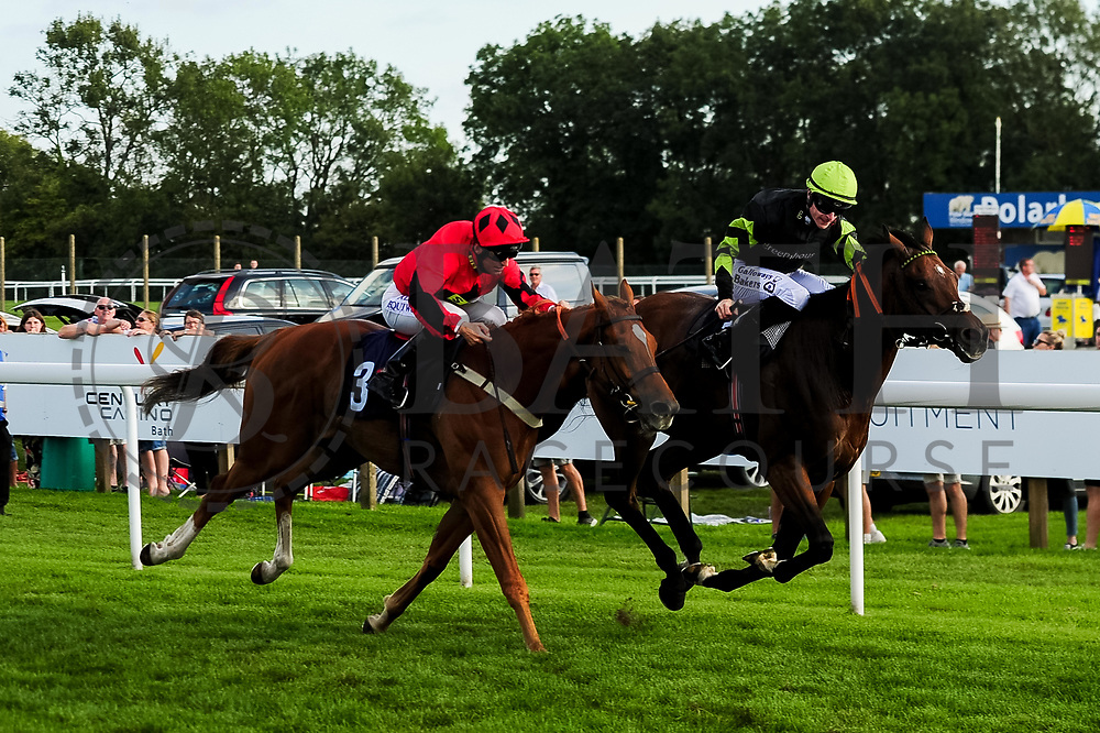 Sufi ridden by Pat Dobbs and trained by Milton Harris in the Visit Valuerater.Co.Uk Nursery Handicap race. Charlie D ridden by Richard Kingscote and trained by Tom Dascombe in the Visit Valuerater.Co.Uk Nursery Handicap race.  - Ryan Hiscott/JMP - 15/09/2019 - PR - Bath Racecourse - Bath, England - Race Meeting at Bath Racecourse