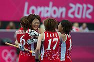 Olympics 2012, hockey, Miyuki Nakagawa congratulated by her teammates for its goal