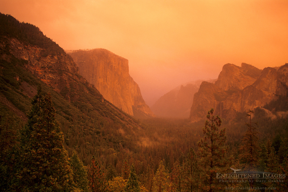 Sunset light through storm clouds over Yosemite Valley, Yosemite National Park, CALIFORNIA