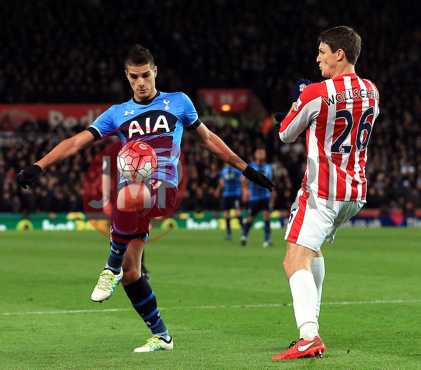 Erik Lamela of Tottenham Hotspur and Philipp Wollscheid of Stoke City  - Mandatory by-line: Matt McNulty/JMP - 18/04/2016 - FOOTBALL - Britannia Stadium - Stoke, England - Stoke City v Tottenham Hotspur - Barclays Premier League