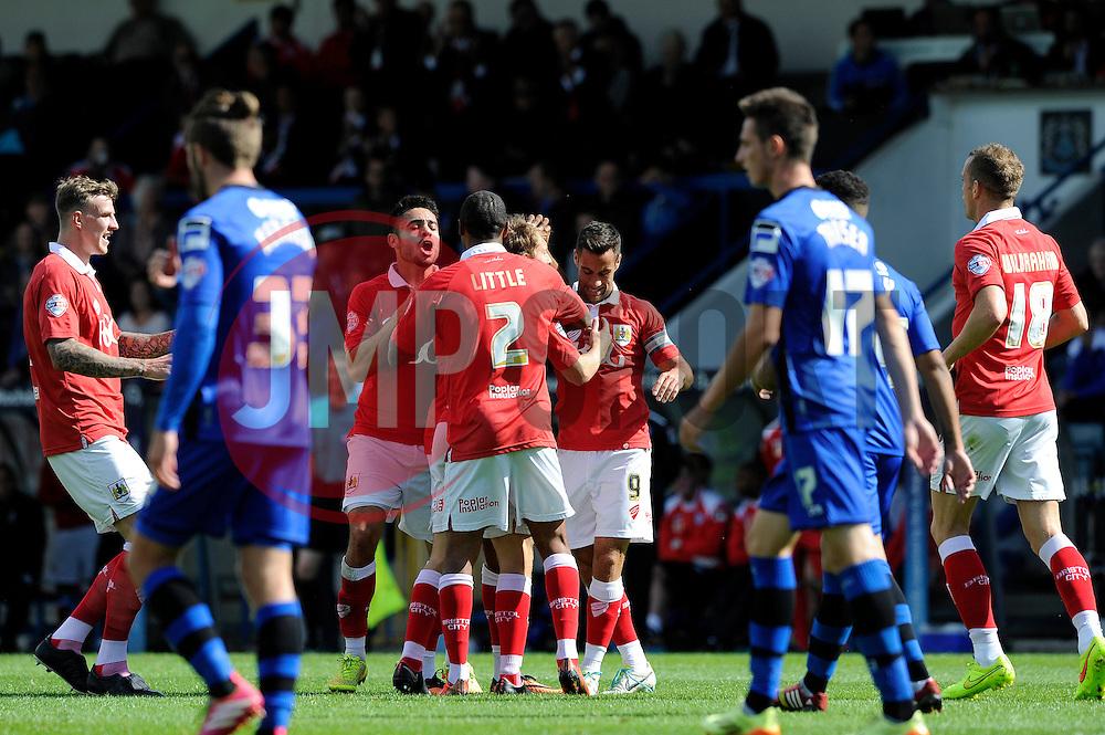 Bristol City's Luke Freeman celebrates his goal. - Photo mandatory by-line: Dougie Allward/JMP - Mobile: 07966 386802 23/08/2014 - SPORT - FOOTBALL - Manchester - Spotland Stadium - Rochdale AFC v Bristol City - Sky Bet League One