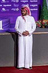 Sheikh / Scheich Joaan bin Hamad bin Khalifa Al Thani<br /> Doha - CHI Al SHAQAB 2020<br /> Siegerehrung<br /> Commercial Bank CHI Al Shaqab Grand Prix presented by LONGINES<br /> Int. jumping competition over two rounds and jump-off (1.60 m)<br /> 29. Februar 2020<br /> © www.sportfotos-lafrentz.de/Stefan Lafrentz