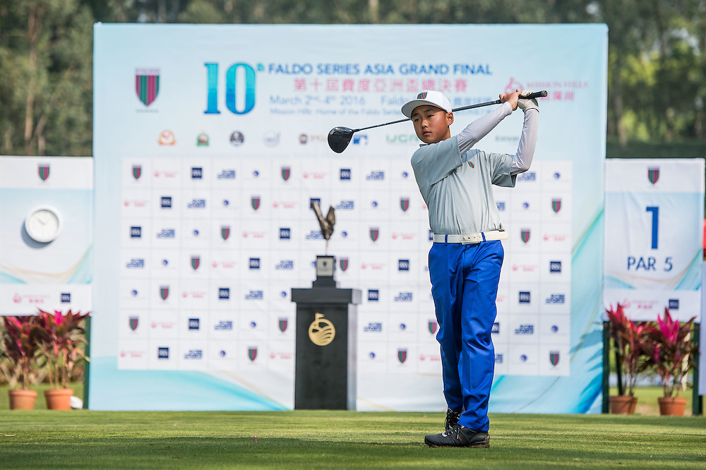 Xi Pu of China in action during day one of the 10th Faldo Series Asia Grand Final at Faldo course in Shenzhen, China. Photo by Xaume Olleros.