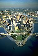 Aerial, Golden Triangle, Three Rivers, Pittsburgh, PA, Allegheny County Aerial Photograph Pennsylvania