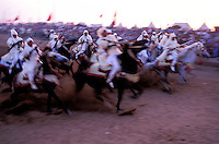 Maroc, Region de El Jadida, Fantasia pour le moussem de Moulay Abdalah // Morocco, El Jadida, Fantasia at the moussem (festival) of Moulay Abdalah