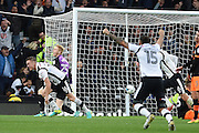 Derby County defender Alex Pearce (16)  scores a goal 2-0 during the EFL Sky Bet Championship match between Derby County and Sheffield Wednesday at the iPro Stadium, Derby, England on 29 October 2016. Photo by Jon Hobley.
