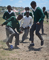 Nov. 21, 2014 - Mthatha, Eastern Cape, South Africa - Pupils of Ngcendese School play football, in Mandela's homeland of Mthatha. Mthatha, Eastern Cape, South Africa. (Picture by: Artur Widak/NurPhoto) (Credit Image: © Artur Widak/NurPhoto/ZUMA Wire)