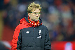 LIVERPOOL, ENGLAND - Wednesday, January 20, 2016: Liverpool's manager Jürgen Klopp before the FA Cup 3rd Round Replay match against Exeter City at Anfield. (Pic by David Rawcliffe/Propaganda)
