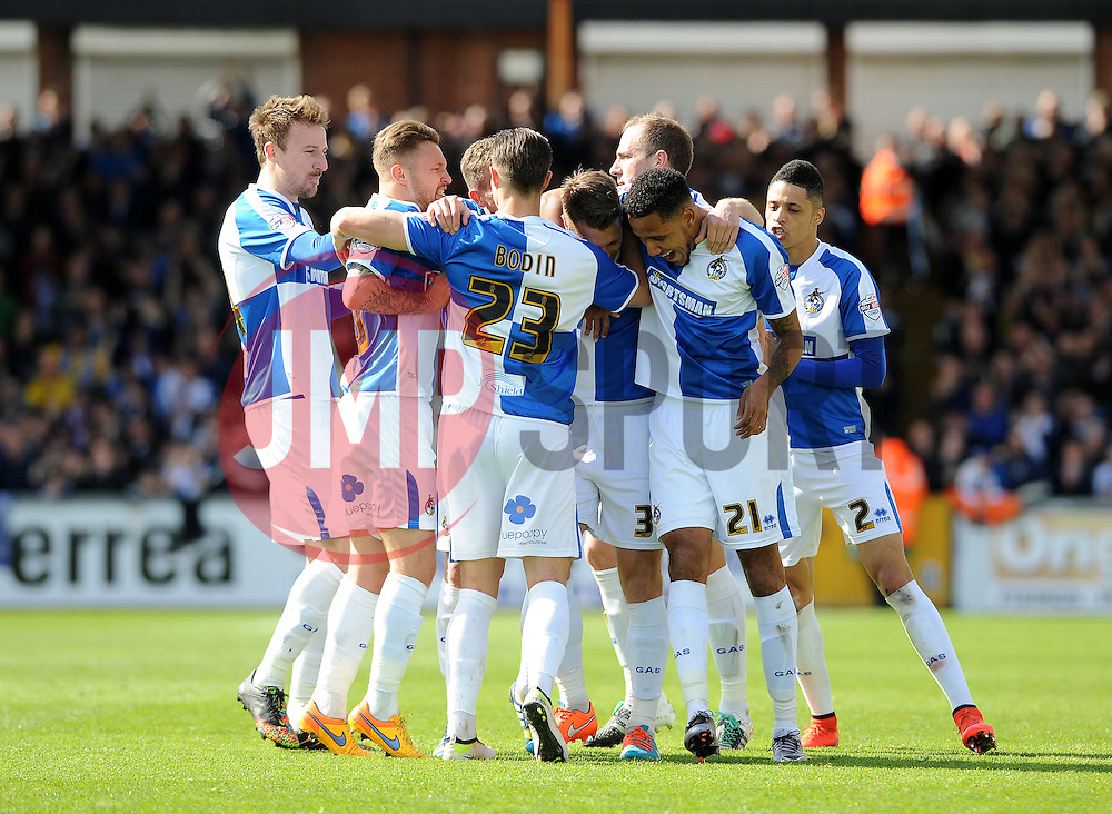 Bristol Rovers celebrate the goal from Lee Brown - Mandatory by-line: Neil Brookman/JMP - 23/04/2016 - FOOTBALL - Memorial Stadium - Bristol, England - Bristol Rovers v Exeter City - Sky Bet League Two