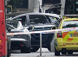 © Licensed to London News Pictures. 07/10/2017. London, UK. A vehicle (C) thought to have been driven into pedestrians in an incident is seen outside the Natural History Museum. Early reports say a man has been arrested after pedestrians injured. Photo credit: Peter Macdiarmid/LNP
