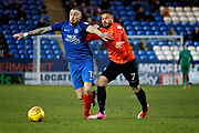 Peterborough United midfielder Marcus Maddison (11) gets away from Southend United midfielder Michael Kightly (7) during the EFL Sky Bet League 1 match between Peterborough United and Southend United at London Road, Peterborough, England on 3 February 2018. Picture by Nigel Cole.
