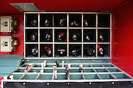 PHOENIX, ARIZONA - APRIL 27:  A detail view of the St. Louis Cardinals helmet and bat rack prior to the game against the Arizona Diamondbacks at Chase Field on April 27, 2016 in Phoenix, Arizona.  (Photo by Jennifer Stewart/Getty Images)