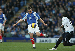 PORTSMOUTH, ENGLAND - SATURDAY, DECEMBER 9th, 2006: Matthew Taylor of Portsmouthcores the first Portsmouth goal against Everton during the Premiership match at Fratton Park. (Pic by Chris Ratcliffe/Propaganda)