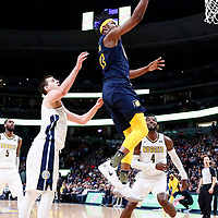 03 April 2018: Indiana Pacers center Myles Turner (33) goes for the layup during the Denver Nuggets 107-104 victory over the Indiana Pacers, at the Pepsi Center, Denver, Colorado, USA.