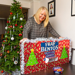 Nigel Canning has created a 'pie in a tin' advent calendar for his girlfriend Nikki for her birthday on Saturday December 1 as a surprise birthday present. Didcot, Oxfordshire, December 03 2018.