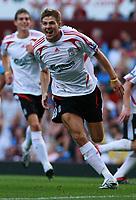 Photo: Mark Stephenson. <br /> Aston Villa v Liverpool. Barclays Premiership. 11/08/2007. <br /> Steven Gerrard celebrates his free kick