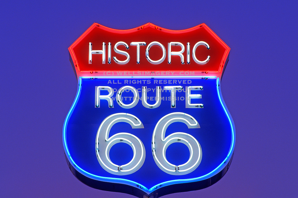 Image of Historic Route 66 Neon Sign in Arizona, American Southwest Icon