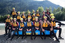 14.07.2015, Ainet, AUT, Eishockey Cracks bei Raftingtour auf der Isel, im Bild Gruppenfoto mit Spielern der EBEL und NHL u.a. mit Thomas Raffl (EC Red Bull Salzburg, EBEL), Michael Raffl (Philadelphia Flyers, NHL) und Skirennläuferin Edit Miklos (HUN) // Hockey Cracks during a rafting tour on the East Tyrolean glacial river Isel Ainet, Austria on 2015/07/14. EXPA Pictures © 2015, PhotoCredit: EXPA/ Johann Groder