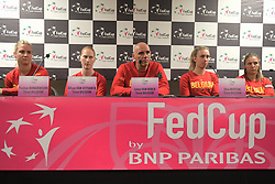 February 6, 2019 - Liege, BELGIQUE - LIEGE, BELGIUM - FEBRUARY 6 :  TEam Belgium pictured during a press conference of Belgium prior to the Fed Cup World Group 1st Round meeting between Belgium and France on February 06, 2019 in Liege, Belgium, 6/02/2019  (Credit Image: © Panoramic via ZUMA Press)
