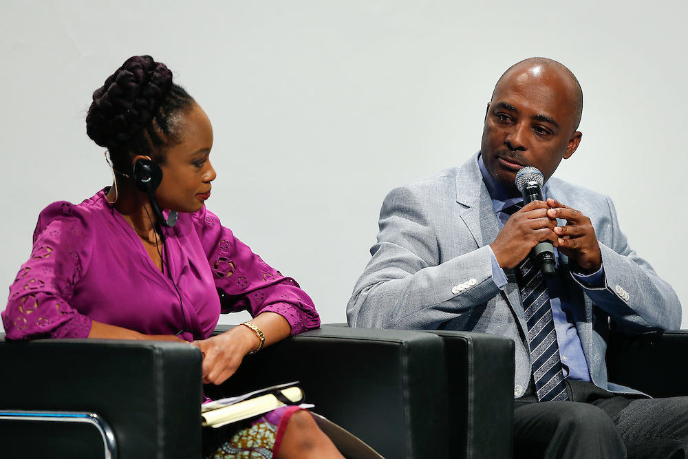 04 June 2015 - Belgium - Brussels - European Development Days - EDD - Education - Right to quality education - Femi Oke , international journalist , writer , moderator - Nesmy Manigat , Minister for Education and Vocational Training , Haiti © European Union