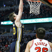 10 March 2012: Utah Jazz shooting guard Gordon Hayward (20) dunks the ball during the Chicago Bulls 111-97 victory over the Utah Jazz at the United Center, Chicago, Illinois, USA.