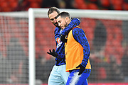 Gonzalo Higuain (9) of Chelsea has his hand over the shoulder of Eden Hazard (10) of Chelsea during the warm up before the Premier League match between Bournemouth and Chelsea at the Vitality Stadium, Bournemouth, England on 30 January 2019.