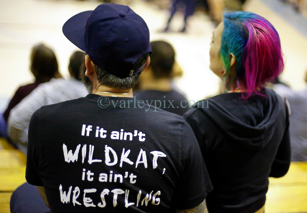 12 March 2016. Metairie, Louisiana.<br /> Wrestling action from Wildkat Sports and Entertainment's 'March into Mayhem' at the Meisler Middle School. Spectators in the crowd enjoy the show.<br /> Photo&copy;; Charlie Varley/varleypix.com
