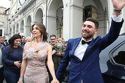 April 27, 2017 - Aversa, Campania/Caserta, Italy - Alessia marries  first trans marriage .  Alessia Cinquegrana, ex-miss Trans, who has been awarded the female gender recognition and recognition of the new status without going through surgery, married Aversa Town Hall with comrade Michele Picone.In picture in order L to R: Alessia Cinquegrana and Michele Picone (Credit Image: © Salvatore Esposito/Pacific Press via ZUMA Wire)
