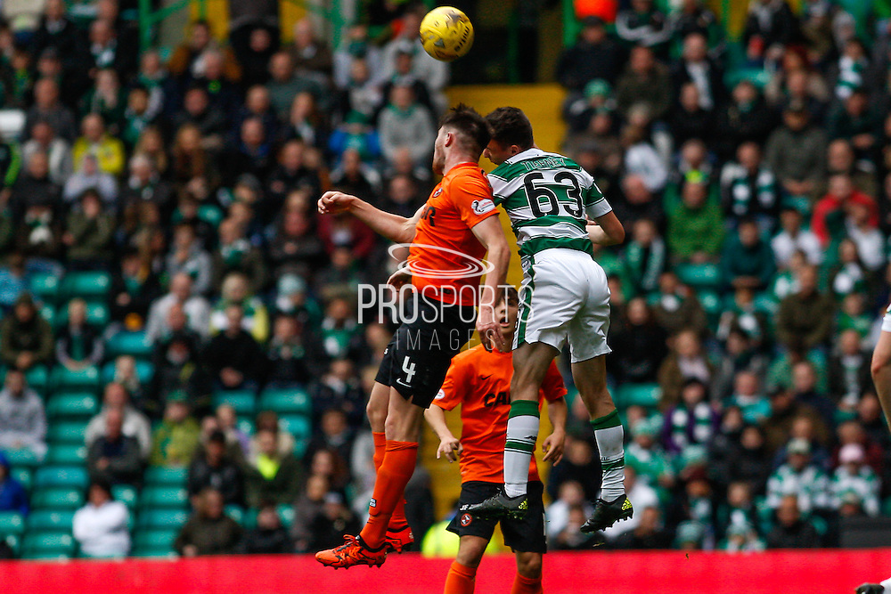 Celtic FC Defender Kieran Tierney and Dundee United Defender John Souttar challenge the ball during the Ladbrokes Scottish Premiership match between Celtic and Dundee United at Celtic Park, Glasgow, Scotland on 25 October 2015. Photo by Craig McAllister.