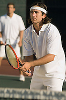 Tennis Player Waiting For Serve