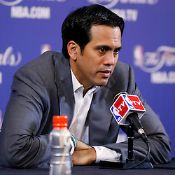 Jun 9, 2013; Miami, FL, USA;  Miami Heat head coach Erik Spoelstra addresses the media after game two of the 2013 NBA Finals against the San Antonio Spurs at the American Airlines Arena. Miami Heat won 103-84. Mandatory Credit: Derick E. Hingle-USA TODAY Sports