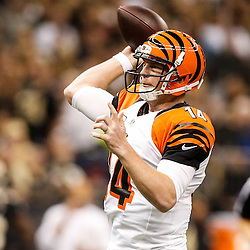 Nov 16, 2014; New Orleans, LA, USA; Cincinnati Bengals quarterback Andy Dalton (14) throws against the New Orleans Saints during the first quarter of a game at the Mercedes-Benz Superdome. Mandatory Credit: Derick E. Hingle-USA TODAY Sports