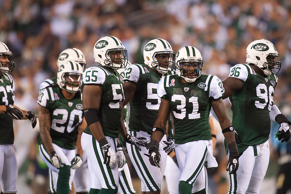 EAST RUTHERFORD, NJ - SEPTEMBER 11: Members of he New York Jets defense look on during a game against the Dallas Cowboys at MetLife Stadium on September 11, 2011 in East Rutherford, New Jersey. The Jets defeated the Cowboys 27 to 24. (Photo by Rob Tringali) *** Local Caption ***
