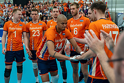 09-06-2019 NED: Golden League Netherlands - Spain, Koog aan de Zaan<br /> Fourth match poule B - The Dutch beat Spain again in five sets in the European Golden League / Nimir Abdelaziz #14 of Netherlands