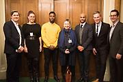 MATT HISCOCK; NATASHA DEVON; MO GILLIGAN; ANN COFFEY MP; LEON MCKENZIE; MARTIN DAUBNEY,; JEFF RAIDER,  Ann Coffey MP hosts a reception and panel debate  on behalf of Harry's Grooming to launch the Masculinity Report. Houses of Parliament. 16 November 2017.