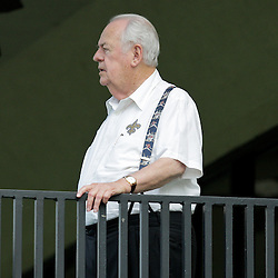 04 August 2009: Saints owner Tom Benson watches from his balcony during New Orleans Saints training camp at the team's practice facility in Metairie, Louisiana.
