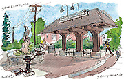 The pocket park at N. 145th Street and Linden Avenue North welcomes you when you enter Shoreline. The park pays homage to the Interurban rail line that connected Everett and Seattle back in the day. (Gabriel Campanario / The Seattle Times)