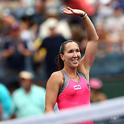 March 11, 2014. Indian Wells, California. Jelena Jankovic defeats Caroline Wozniacki in the fourth round of the 2014 BNP Paribas Open. (Photo by Billie Weiss/BNP Paribas Open)