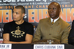 © Licensed to London News Pictures. 24/03/2016. CHRIS EUBANK JR and CHRIS EUBANK attend a press conference for their fight against CHRIS BLACKWELL at SSE Arena Wembley on Saturday 26th March 2016. London, UK. Photo credit: Ray Tang/LNP