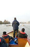 London, Great Britain. Oxford, OUBC [Blue Boat] v. Leander Club, view from the Umpires Launch, as Oxford start to draw level, Pre Boat race fixture over the Championship Course  River Thames. Single race piece - Putney to Chiswick Pier.  on Saturday  12/03/2011 [Mandatory Credit; Karon Phillips/Intersport Images]..Crews:.Oxford OUBC: Bow Moritz HAFNER, Ben MYERS, Dave WHIFFIN,  Ben ELLISON,  Karl HUDSPITH,  Alec DENT,  George WHITTAKER, Stroke Constantine LOULOUDIS, Cox Sam WINTER-LEVY. ..Leander: Bow Oliver HOLT,  Will GRAY,  Graham HALL,  John CLAY,  James ORME,  Tom CLARK,  Ben DUGGAN, Stroke David LAMBOURN, Cox Alex OLIJNYK..