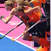 Dutch  defenders attack an Australian short corner during the Australia V Holland women's hockey warm up match on the main hockey arena at Olympic Park, Stratford during the London 2012 Olympic games preparation at the London Olympics. London, UK. 22nd July 2012. Photo Tim Clayton