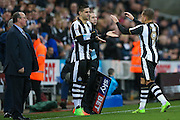 Newcastle United forward Aleksandar Mitrovic (45) comes on for Newcastle United forward Dwight Gayle (9)  during the EFL Sky Bet Championship match between Newcastle United and Aston Villa at St. James's Park, Newcastle, England on 20 February 2017. Photo by Simon Davies.