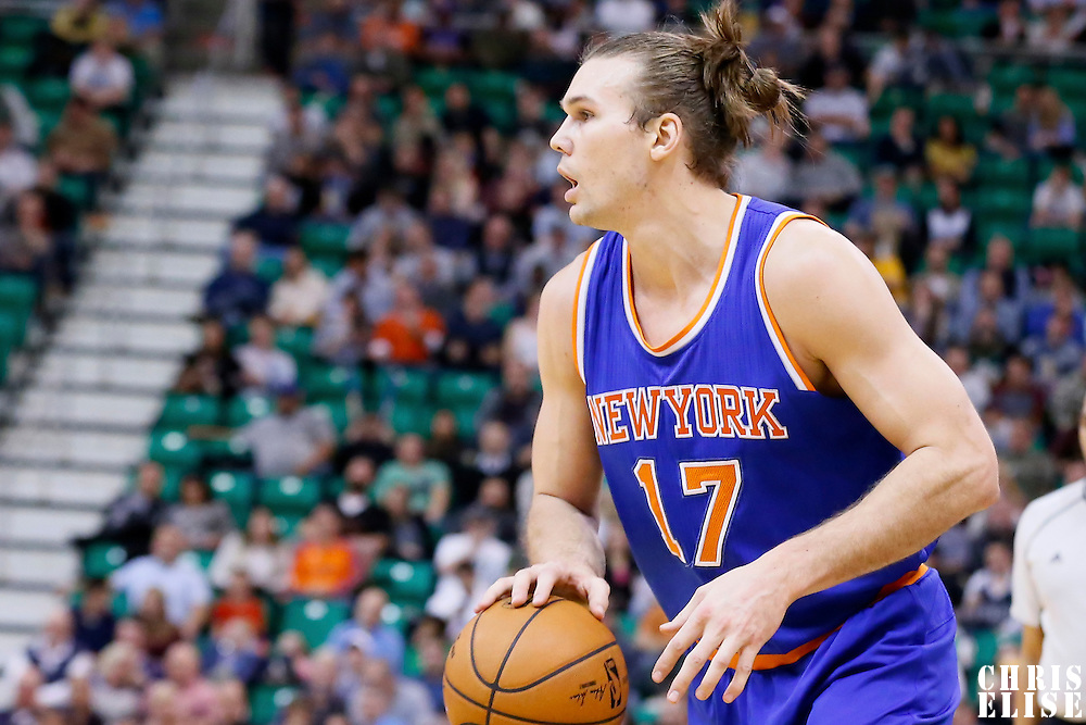 09 December 2015: New York Knicks forward Lou Amundson (17) dribbles during the Utah Jazz 106-85 victory over the New York Knicks, at the Vivint Smart Home Arena, Salt Lake City, Utah, USA.